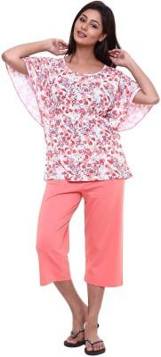 Softwear Women's Printed Orange Top & Capri Set