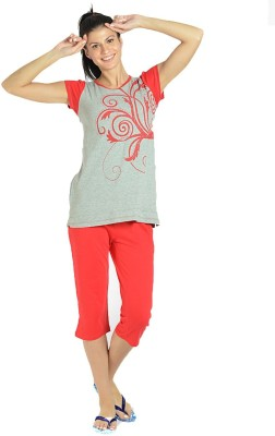 LLO Fashions Women's Solid Red Top & Capri Set