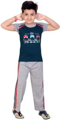 13 in Boy's Printed Green Top & Pyjama Set