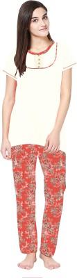 La Dreamz Women's Printed White Top & Pyjama Set