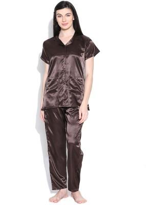 Sand Dune Women's Solid Brown Top & Pyjama Set