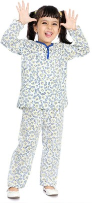 Little pocket store Girl's Printed White Top & Pyjama Set