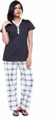 Softwear Women's Printed Grey Top & Pyjama Set