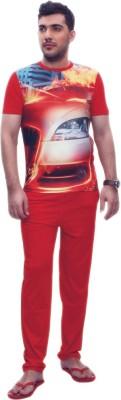 Penguin Men's Self Design Red, Orange Top & Pyjama Set