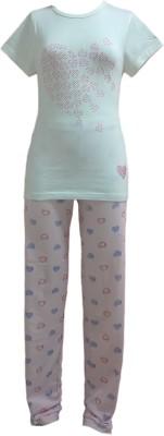 Sweet Dreams Girl's Graphic Print White Top & Pyjama Set