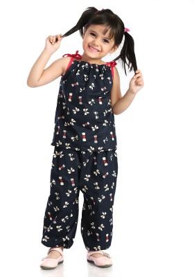 Little Pocket Store Baby Girl's Printed Dark Blue Top & Pyjama Set