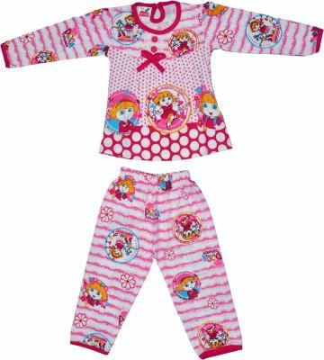 Belle Girl Girl's Printed Pink Top & Pyjama Set