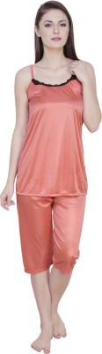 Claura Women's Solid Orange Top & Capri Set