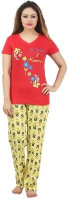 Sunwin Women's Printed Red, Yellow Top & Pyjama Set
