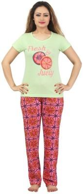 Sunwin Women's Printed Green, Pink Top & Pyjama Set