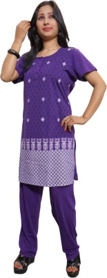 Indiatrendzs Women's Printed Purple Top & Pyjama Set