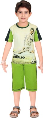 Red Ring Boy's Printed Green T-shirt & Three-forth Set