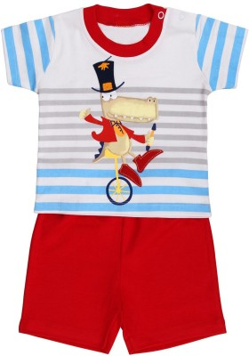 Munna Munni Kids Apparel Baby Boy's Printed, Striped, Solid Orange, Red Top & Shorts Set