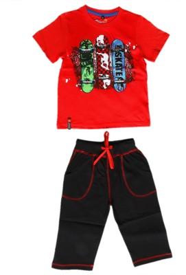 Prince And Princess Boy's Printed Red, Black Top & Capri Set