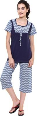 Softwear Women's Self Design Blue Top & Capri Set
