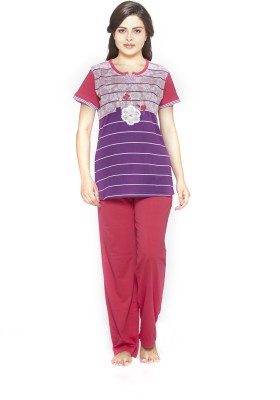 Melodie Women's Printed Purple, Pink Top & Pyjama Set