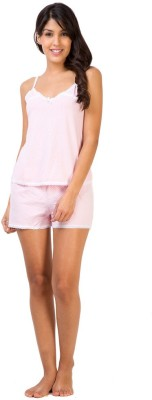 Penny by Zivame Women,s Polka Print Pink Top & Shorts Set