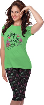 So Sweety Women's Graphic Print Green Top & Pyjama Set