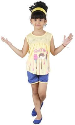 Bella & Brat Girl's Printed Yellow, Blue Top & Shorts Set