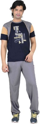 Premium Plus Men's Solid Dark Blue, Light Blue Top & Pyjama Set