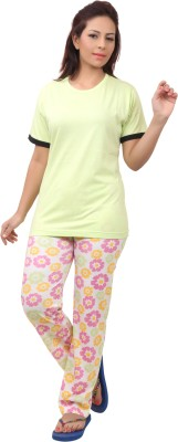 Div Women's Printed Light Green Top & Pyjama Set