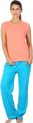 Click Hit Softle Top Payjama set Women's Solid Orange, Light Blue Top & Pyjama Set