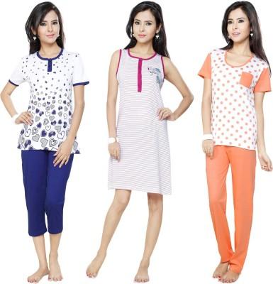 Flamingo Lingerie Women's Printed Dark Blue, Orange, Pink Top, Pyjama & Capri Set
