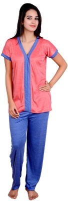 Kismat Fashion Women's Solid Orange, Light Blue Top & Pyjama Set