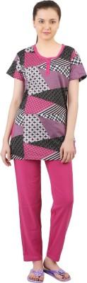 Informal Wear Women's Printed Pink, Black Top & Pyjama Set