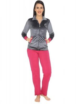 La Zoya Women's Solid Grey Top & Pyjama Set