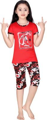 Red Ring Girl's Self Design Red Top & Capri Set