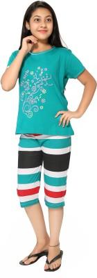 Elite Girl's Printed Green Top & Capri Set