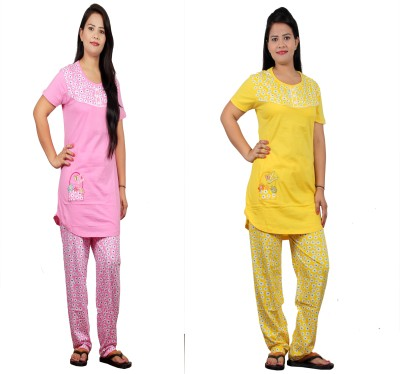 UNO COTTON Women's Printed Multicolor Top & Pyjama Set