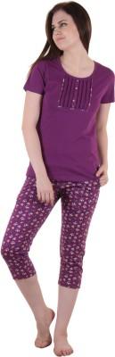 Private Lives Women's Solid Purple Top & Capri Set