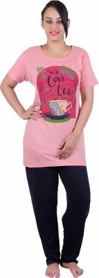 Di Tutti Women's Graphic Print Pink Top & Pyjama Set