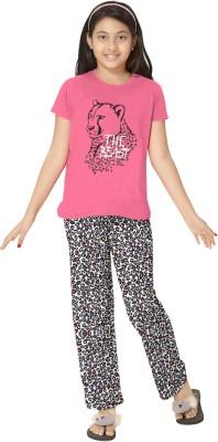 So Sweety Girl's Printed Pink Top & Pyjama Set
