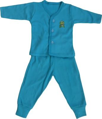 NammaBaby Baby Boy's Solid Blue Top & Pyjama Set