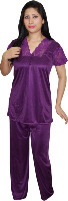 Indiatrendzs Women's Solid Purple Top & Pyjama Set