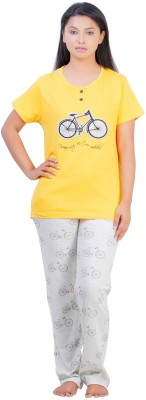July Cotton Two Piece Women's Printed Yellow, Grey Top & Pyjama Set