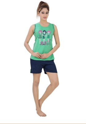 Just4You Women's Printed Green Top & Shorts Set