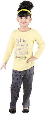 Bella & Brat Girl's Graphic Print Yellow, Grey Top & Pyjama Set