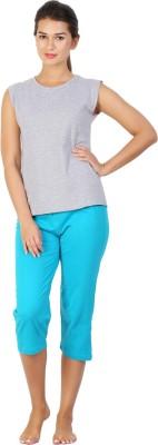 Click Hit Softle Top Payjama set Women's Solid Grey, Light Blue T-shirt & Three-forth Set
