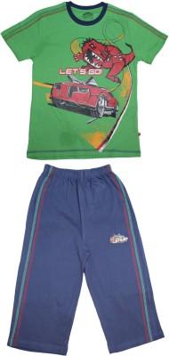 Proteens Boy's Printed Green, Blue Top & Capri Set