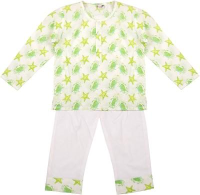 NeedyBee Boys Printed Green Top & Pyjama Set