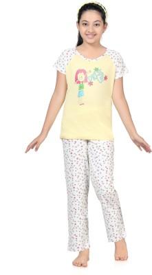 Kombee Girl's Printed Yellow, White Top & Pyjama Set