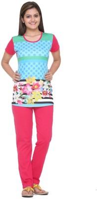 Meei Women's Graphic Print Pink Top & Pyjama Set