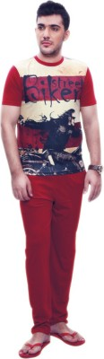 Penguin Men's Self Design Black, Maroon Top & Pyjama Set