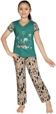 ABHIRA Girl's Printed Green Top & Pyjama Set