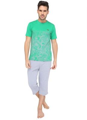 Valentine Men's Printed Green Top & Capri Set