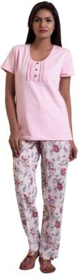 ZUZIZ Women's Solid, Printed Pink Top & Pyjama Set